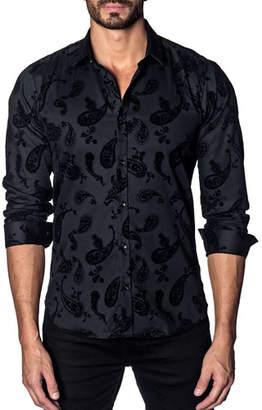 Jared Lang Men's Modern-Fit Flocked Paisley Long-Sleeve Shirt