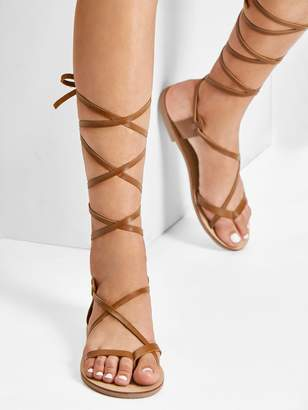 a6acbacb6df1 Shein Lace Up Knee High Gladiator Sandal Boots