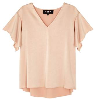 Paule Ka Blush Pink Satin Top