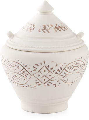 John Robshaw Lakki Covered Porcelain Vanity Jar, Taupe