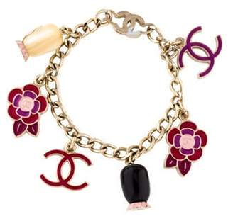 Chanel Strass & Enamel CC Logo Charm Bracelet Gold Strass & Enamel CC Logo Charm Bracelet