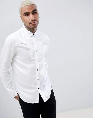 Asos DESIGN regular fit western viscose shirt in white with black poppers