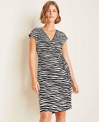 Ann Taylor Petite Zebra Print Matte Jersey Wrap Dress