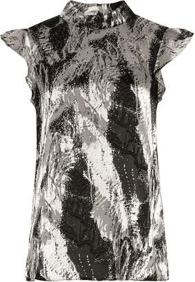 Reiss Andi - Textured Printed Top in Platinum/Black
