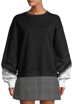 Derek Lam 10 Crosby Crewneck Lace-Trim Sweatshirt with Poplin Sleeves