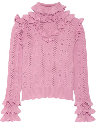Gucci - Ruffled Pointelle-knit Wool-blend Sweater - Baby pink $1,490 thestylecure.com