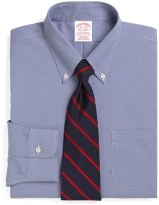 Brooks Brothers Traditional Relaxed-Fit Dress Shirt, Non-Iron Houndstooth