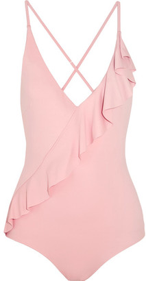 Marysia - Palisades Ruffle-trimmed Swimsuit - Antique rose $350 thestylecure.com