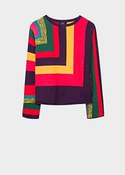 Women's Multi-Colour 'Rainbow Stripe' Cotton Sweater