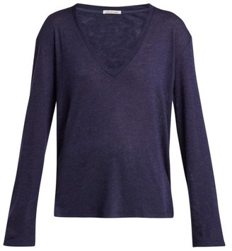 Frances De Lourdes - Louise Cashmere And Silk Long Sleeve T Shirt - Womens - Navy