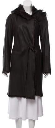 Nicole Farhi Leather Fur-Lined Coat