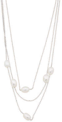 Made In Italy Sterling Silver Pearl Multirow Necklace