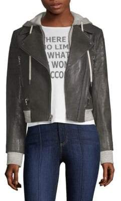 Alice + Olivia AO.LA by Avril Hooded Leather Moto Jacket