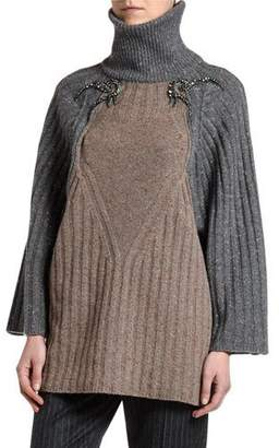Antonio Marras Wide-Ribbed Beaded Shoulder Sweater