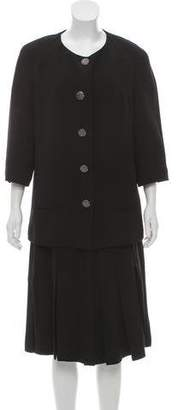 Chanel Pleated Silk Skirt Suit