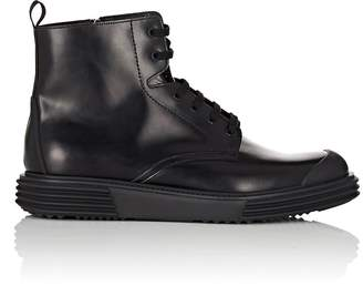 Prada Men's Wedge-Sole Leather Boots