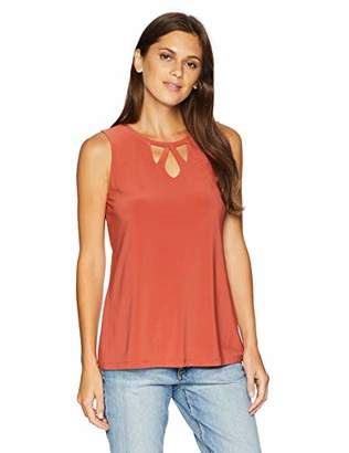 Nine West Women's Triple Key Hole Solid Ity Top