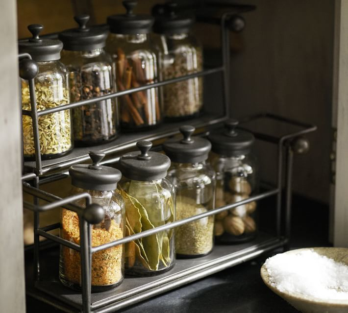 Pottery Barn Counter Spice Rack & Jars
