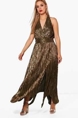 boohoo Plus Metallic Pleat Hanky Hem Wrap Dress