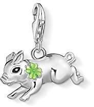 Thomas Sabo Women Charm Pendant Little Pig with Cloverleaf 925 Sterling Silver, Black, Green Enamelled 1561-007-21