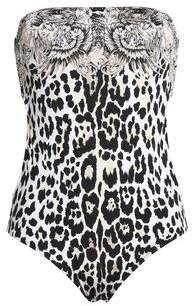 Roberto Cavalli Strapless Cutout Printed Stretch-Knit Swimsuit