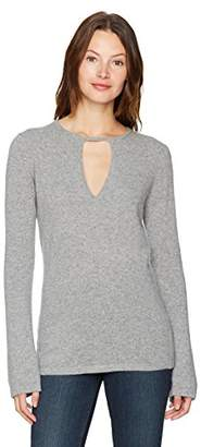 Minnie Rose Women's Long Sleeve Cashmere Key Hole Sweater