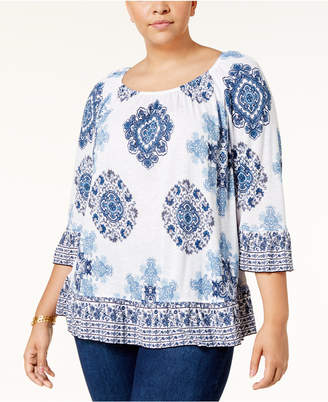 INC International Concepts I.n.c. Plus Size Medallion-Print Ruffled Top, Created for Macy's