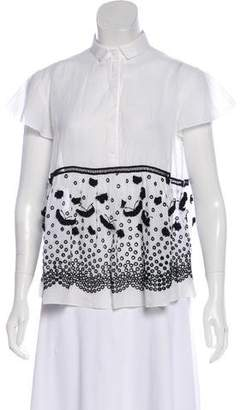 Giamba Eyelet Short Sleeve Top