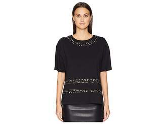 The Kooples T-Shirt with Studs and Multicolor Rhinestones