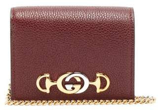 Gucci Zumi Chain Handle Grained Leather Wallet - Womens - Burgundy