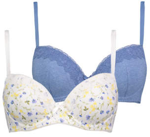 0bee4236b8528 George Floral Lace Trim T-Shirt Bras 2 Pack