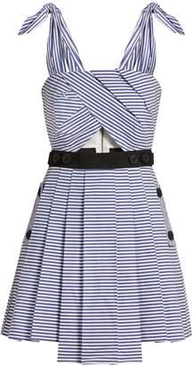 SELF-PORTRAIT Tie-shoulder striped cotton mini dress