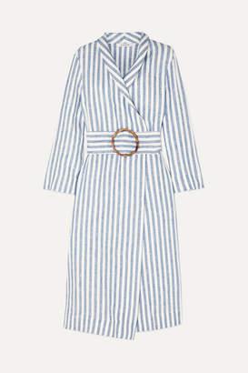 Sleeper - Belted Striped Linen-gauze Robe - Blue