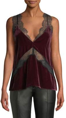CAMI NYC The Josie Velvet Cami w/ Lace Insets