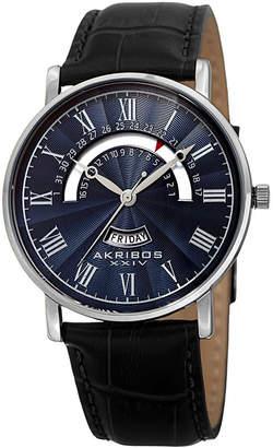 Akribos XXIV Mens Black Strap Watch-A-898ssbu