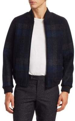 Saks Fifth Avenue MODERN Plaid Bomber Jacket
