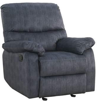 ACME Furniture Acme Saul II Tight Back and Seat Recliner in Blue Denim Velvet