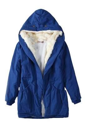 Vepodrau Womens Thicken Hooded Jacket Outerwear Fur Lined Parka Jackets Coat M