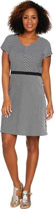Isaac Mizrahi Live! Striped Short Sleeve Fit & Flare Knit Dress