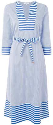 Parker Chinti & striped flared dress
