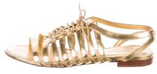 Chanel CC Metallic Lace-Up Sandals