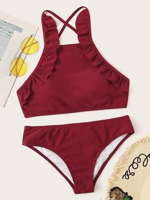 7ca9943938 Shein Frill Trim Criss-cross Tie Back Bikini Set