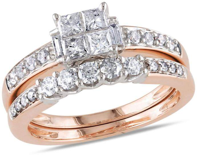 Delmar Jewelers 14K Gold 2-Tone 0.95ctw Engagement Ring and Wedding Band 2-piece Set
