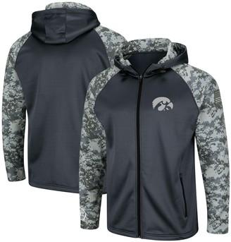 Colosseum Men's Charcoal/Camo Iowa Hawkeyes OHT Military Appreciation Digi Camo Raglan Full-Zip Hoodie