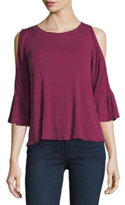 Casual Couture Cold-Shoulder Bell-Sleeve Top