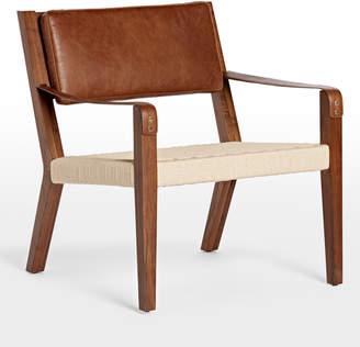 Rejuvenation Shaw Walnut & Leather Lounge Chair