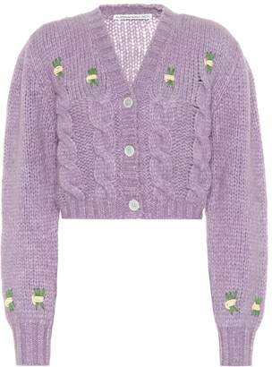 Alessandra Rich Cropped alpaca-blend cardigan
