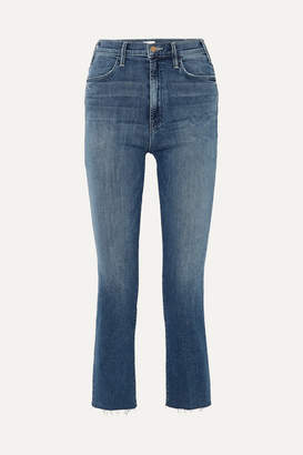 Mother The Hustler Cropped Frayed High-rise Flared Jeans - Dark denim
