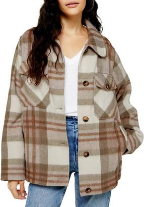 Topshop Check Wool-Blend Jacket