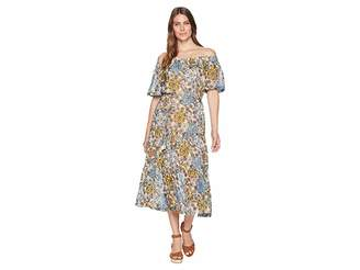 Taylor Off-the-Shoulder Floral Print Chiffon Maxi with Tie Belt Women's Dress